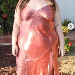 Plus Size Satin Maxi Dress